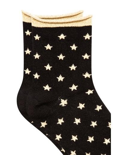Mavi Yıldız Desenli  Soket Çorap Siyah